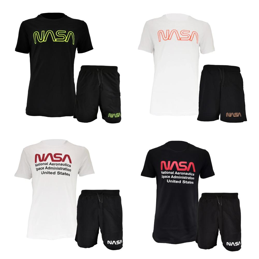 Completo sportivo NASA composto da t-shirt e pantaloncini con logo NASA da uomo