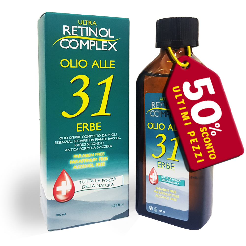 3 Flaconi Olio 31 alle erbe ipoallergenico senza parabeni da 100ml