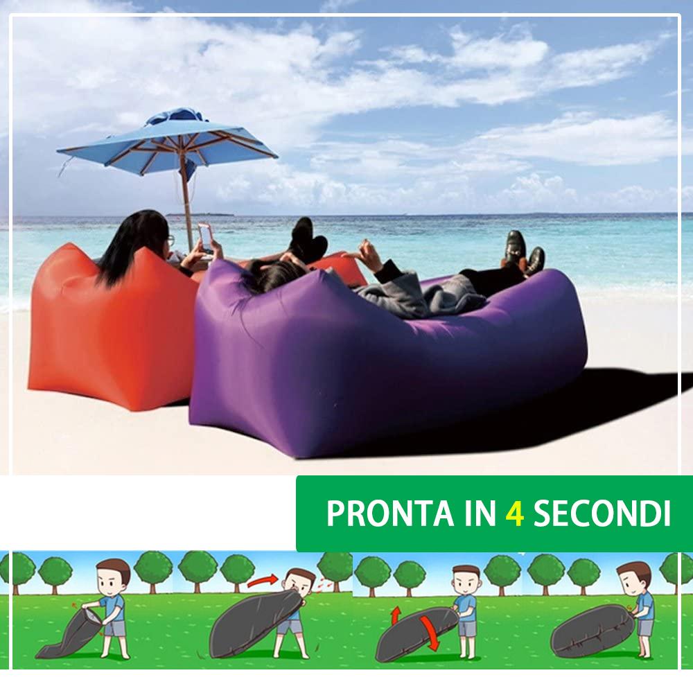 Lettino gonfiabile da Spiaggia Campeggio e Giardino Gonfiabile in 4 secondi ad aria