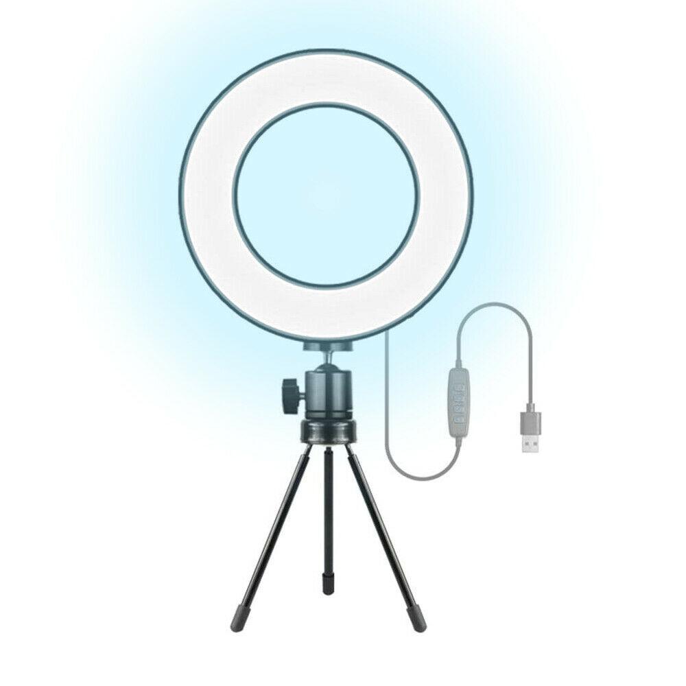 """Lampada Anello Selfie LED Luminoso 6"""" Pollici x 16cm Diametro con Usb da Tavolo"""