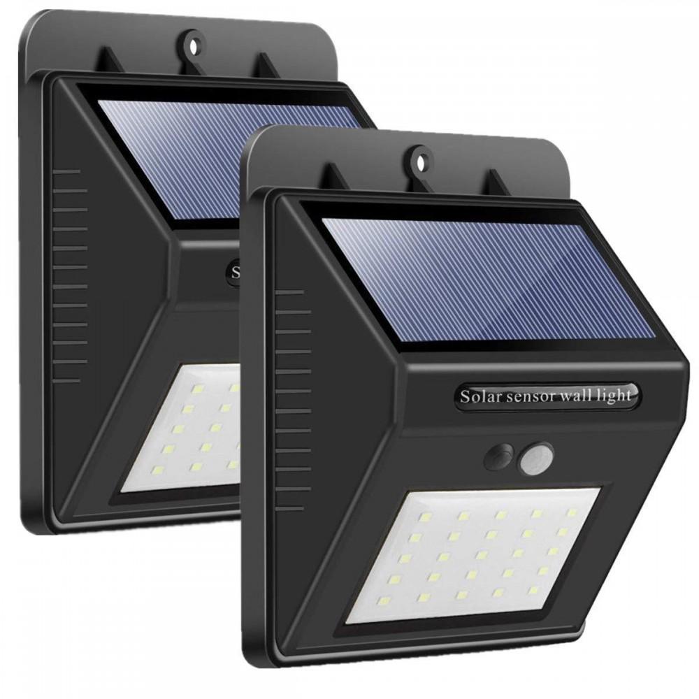 3x Faretti da 20 Led ad energia solare con sensori di movimento e sensore notturno