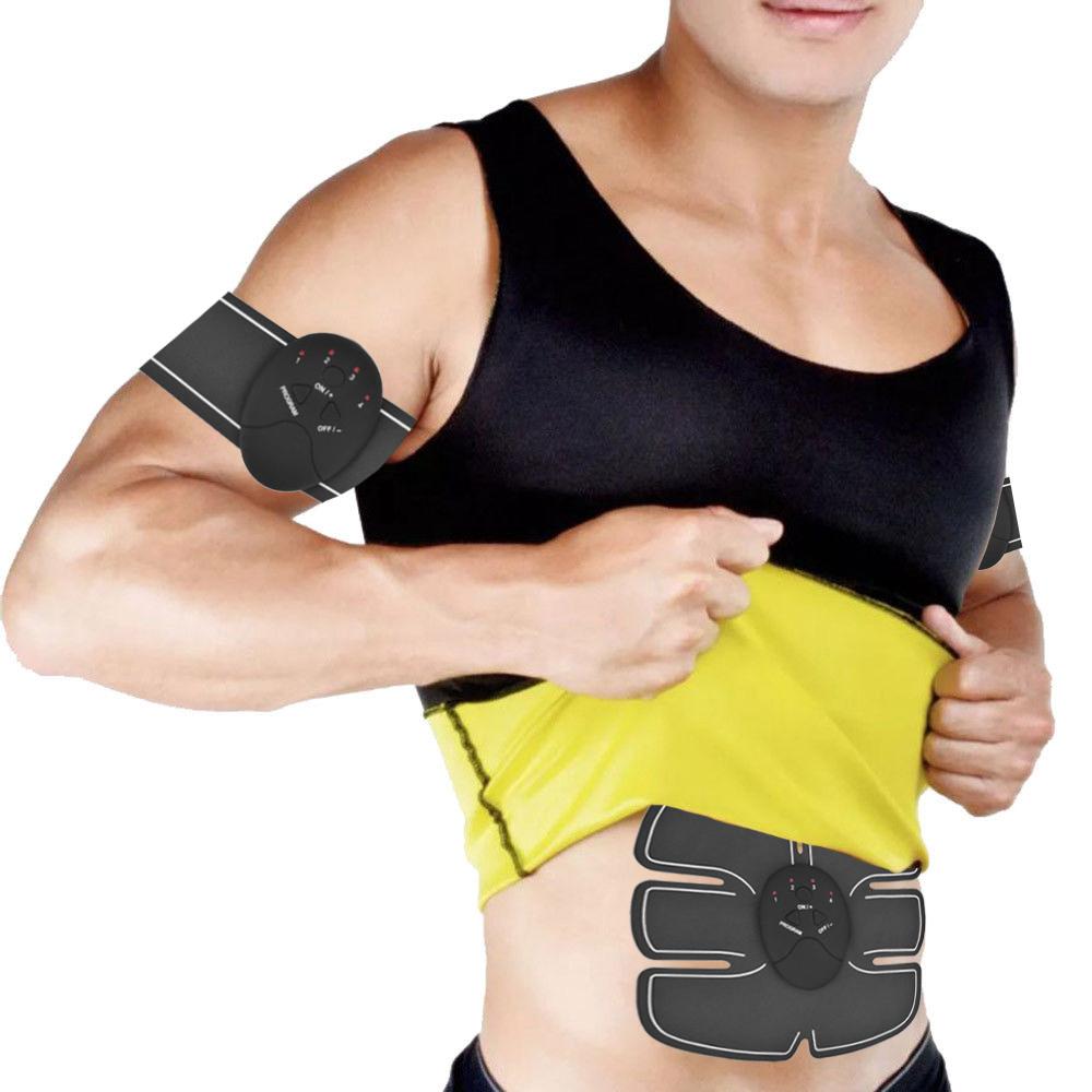 Canotta Uomo + Elettrostimolatore per Stimolare I Muscoli Addominali, Braccia e Gambe
