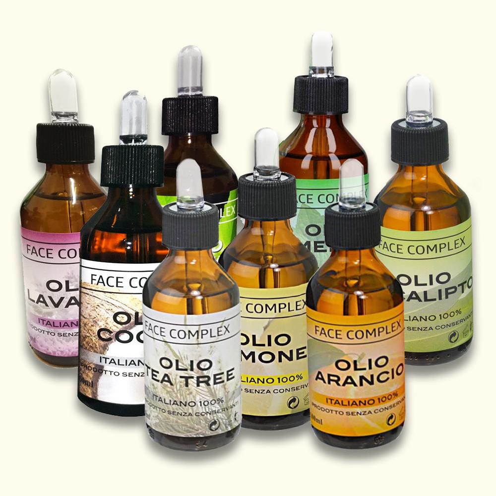 Olii essenziali: Lavanda, Ricino, Cocco, Menta, Arancio, Eucalipto, Limone, Tea Tree